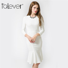 2017 Talever Summer Womens Clothing Sexy Long Sleeve Evening Party Dress White Black Casual Women's Tunics Dresses Bodycon Dress