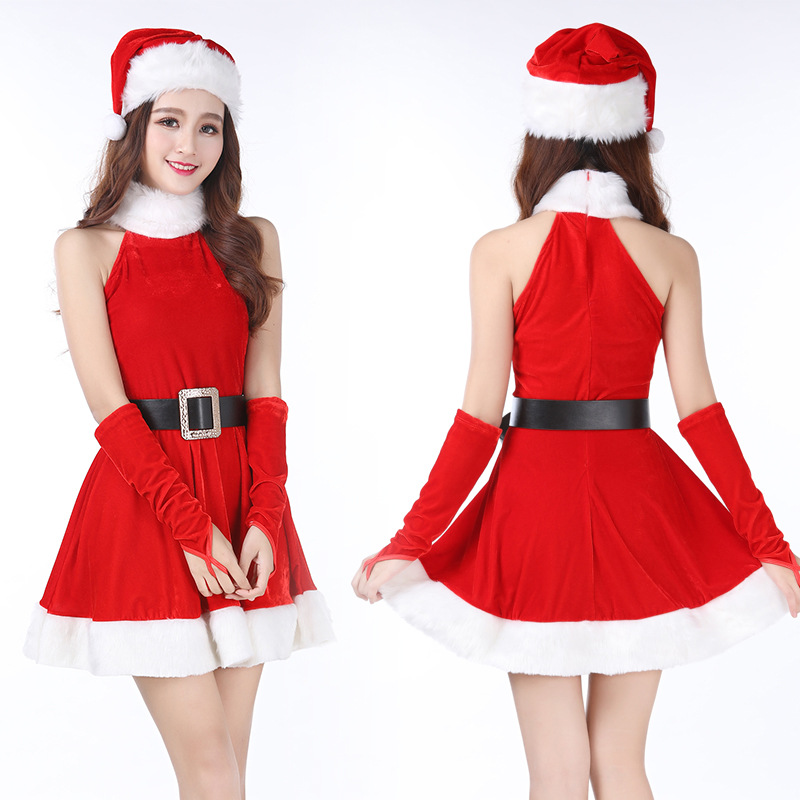 Christmas Lovely Princess Acting Dress Women Costume Cosplay for Christmas Party Clothes Sexy Charming One-Piece Dress Girls