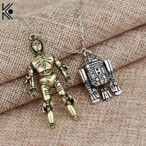 New design Star Wars & Robot pendants Necklace maxi long necklace for Women Men Best Friend Ship Gift R2D2 And C3PO Necklace(China)