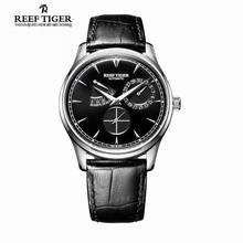 Reef Tiger/RT Classic and Elegant Automatic Watch Power Reserve Calendar Small Seconds Steel Watch for Men RGA1980