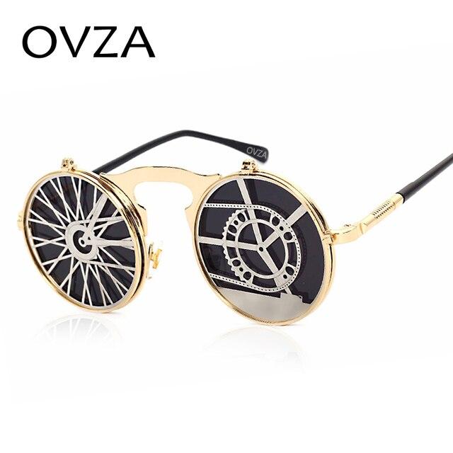 6b540072b4 OVZA Steampunk fresco hermoso Clamshell gafas de sol hombres de gama alta  calado lente círculo gafas