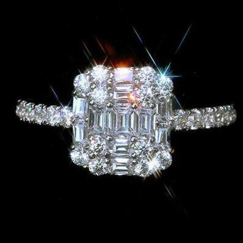 Infinity tout nouveau bijoux de luxe 925 en argent Sterling T princesse coupe blanc clair 5A cubique zircone femmes bague de mariage cadeau - 4