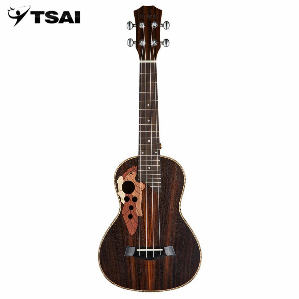 TSAI 23inch Rosewood Carved Four String Small Ukulele Guitar Grape-shaped Hole Musical Instruments Hawaiian Concert For Beginner tsai chin taipei