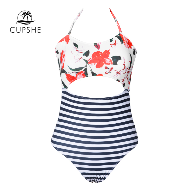 d2038d5218 CUPSHE Open Lilies Flora Print One piece Swimwear Women Cutout Back Tied  Bow Halter Monokini 2019 Beach Bathing Suits Swimsuits-in Body Suits from  Sports ...