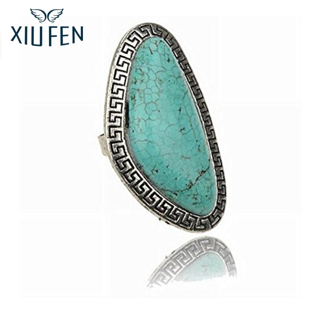 XIUFEN Newest Fashion Style Adjustable Elegant Ladies Vintage Ring Tibet Natural Blue Stone Obtuse Triangle Finger Ring ZK40