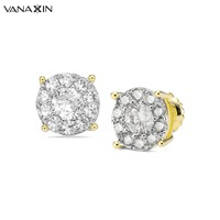 VANAXIN Crystal Stud Earrings For Women Black Nickle Rhodium Plated Female Earring Brand Design Trendy Girls Ear jewelry Brincos
