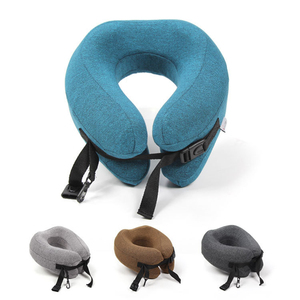 Image 2 - Adjustable U Shape Memory Foam Travel Neck Pillow Foldable Head Neck Chin Support Cushion for Sleeping on Airplane Car Office
