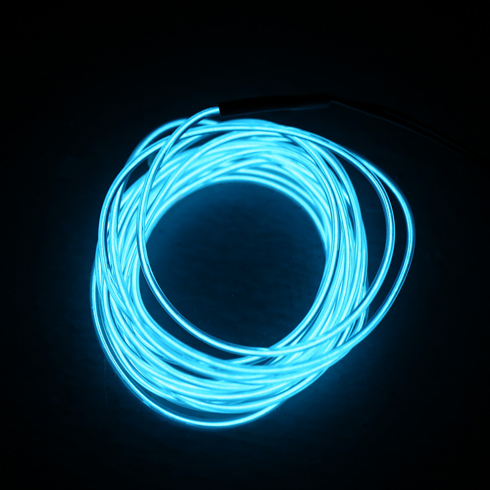 5M Ice blue Colorful Flexible EL Wire Tube Rope Neon Light Glow Car Party Decor
