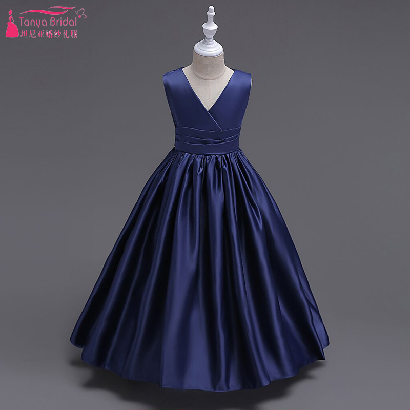 Dark Navy Satin Flower Girls Dresses V Neck Simple Kid
