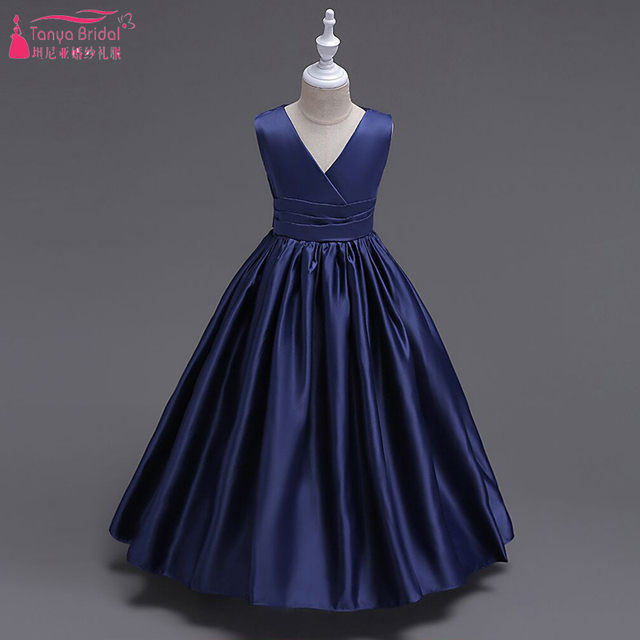 e1611a8a888 Dark Navy Satin Flower Girls Dresses V-Neck Simple Kid Pagent Dresses Kids  Graduation Dresses Long Communion dress ZF049