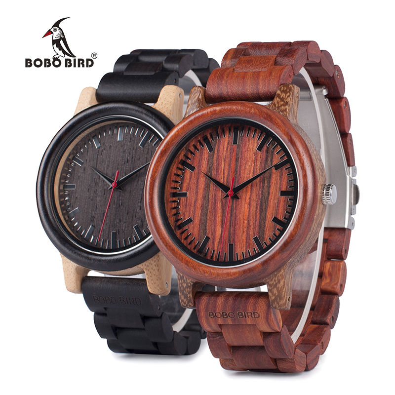 BOBO BIRD WM17M18 2017 New Design Wooden Watch for Men Two-tone Wenge Rose Wood Quartz Watches in Gift Box bobo bird wh05 brand design classic ebony wooden mens watch full wood strap quartz watches lightweight gift for men in wood box