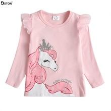 Dxton/футболка для маленьких девочек; футболка с длинными рукавами для детей; футболки с аппликацией единорога; хлопковая детская зимняя одежда; костюм с героями мультфильмов для девочек