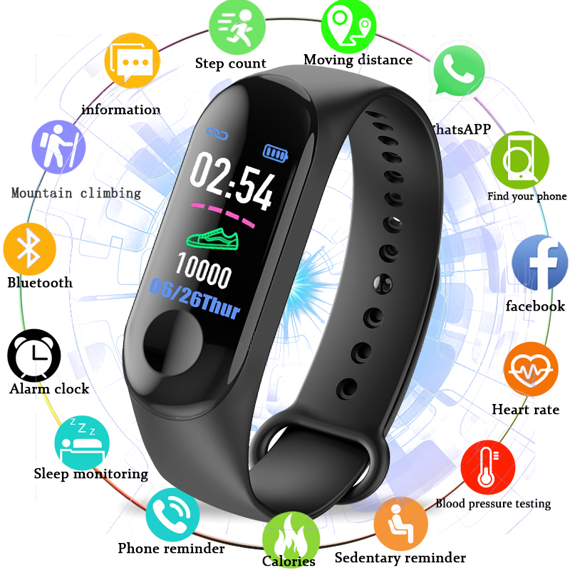 BANGWEI Men Women Watch Sport Band Blood Pressure Heart Rate Monitor Smart Watch Men LED Color Touch screen  Fitness Wristband