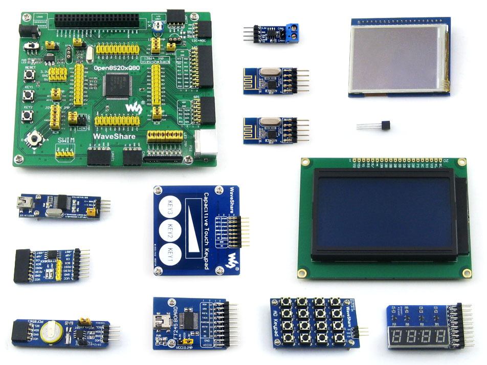 Parts STM8 Board STM8S208MB STM8S208 STM8 Development Board +Touch LCD+Capacitive Touch Keypad+12 Modules=Open8S208Q80-B capacitive touch keypad module blue