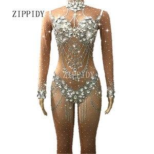 Image 1 - Блестящие кристаллы телесный комбинезон стрейч камни наряд для празднования яркий Стразы боди костюм женский певец платье на день рождения