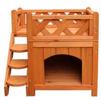 Maison de chat en bois chat chien chambre pour usage intérieur chiot lit chambre avec escaliers abri balcon lit chat Condo pour petits animaux de compagnie-Stock US