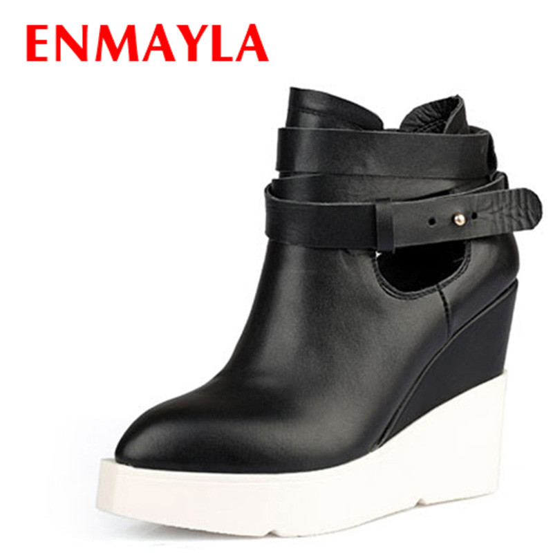 ENMAYLA Ankle Boots for Women Spring Autumn and Winter Two Style Pointed Toe Wedges Boots High-Heeled Platform Shoes Woman enmayla ankle boots for women low heels autumn and winter boots shoes woman large size 34 43 round toe motorcycle boots