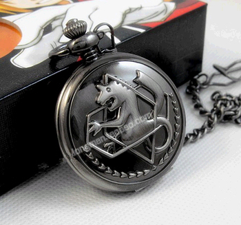 antique New silver tone Fullmetal Alchemist Pocket Watch Cosplay Edward Elric Anime Gift 10pcs/lot - discount item  6% OFF Pocket & Fob Watches