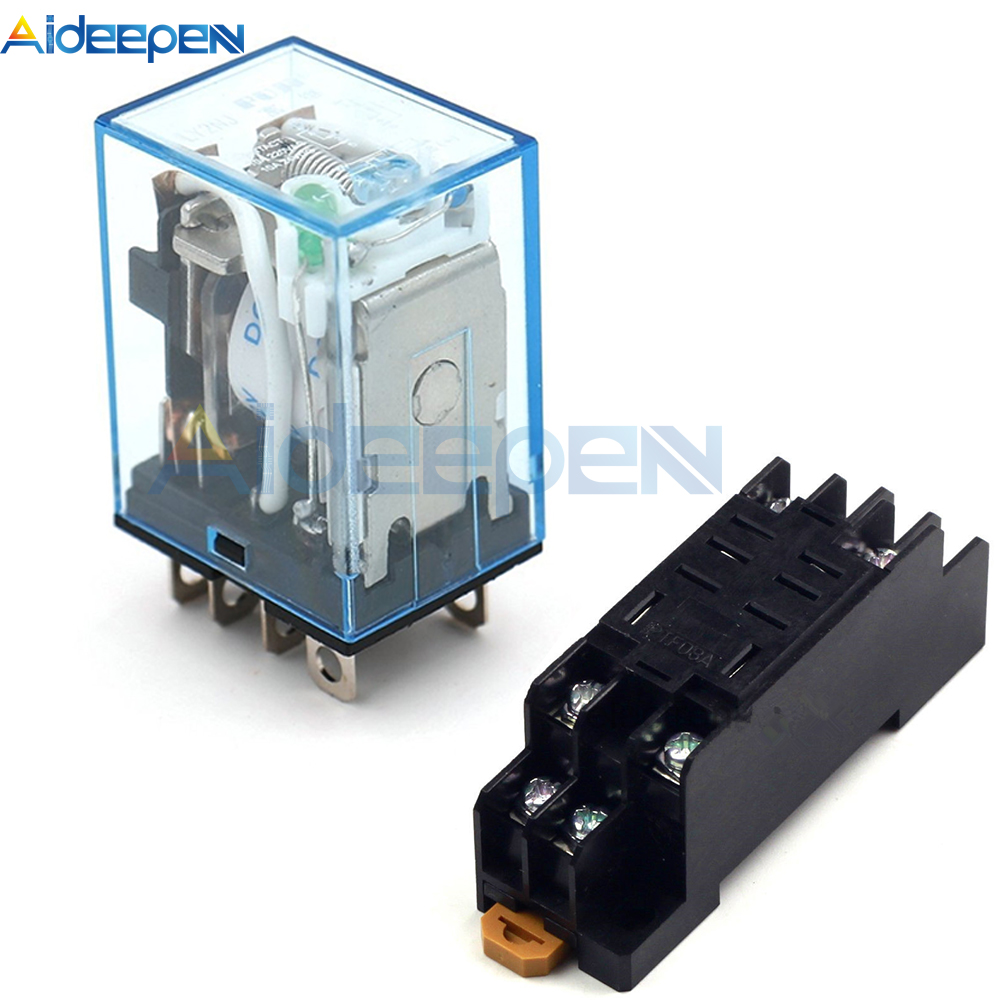 LY2NJ HH62P Relay 220V AC / 12V DC / Base Coil High Quality General Purpose DPDT Micro Mini Relay Or Socket Base Holder
