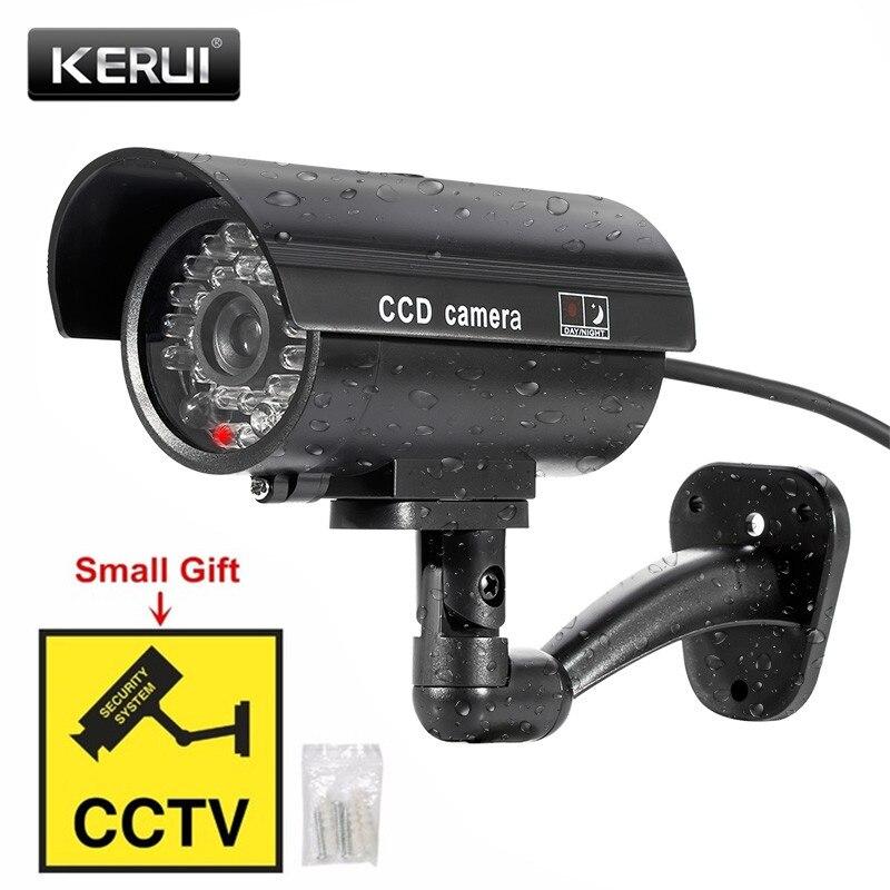 KERUI al aire libre simulación Fake Cámara simulada CCTV inicio vigilancia seguridad Mini cámara LED parpadeante luz Cámara falsa negro