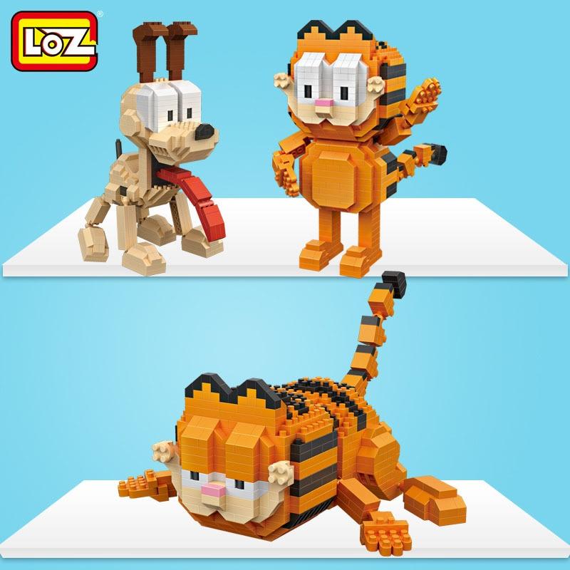 Loz kawaii filme dos desenhos animados gato cão animal odie garfield blocos de construção plástico figuras de ação brinquedo educativo 9757 9758