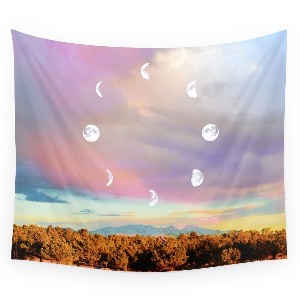 Moon Phases Wall Tapestry Wedding Party Gift Bedspread