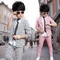 Two -piece 2017 Boy Spring Jacket Pants Blouse Stripe Blazer Suits Boys Clothing Set