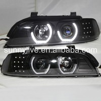 For BMW E39 LED Angel Eyes Head Lamp 1995 2003 year JX black Housing SilverReflector