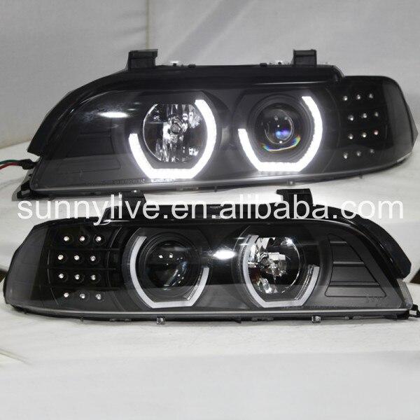 Pour BMW E39 LED Angel Eyes phare 1995-2003 an JX boîtier noir silverréflecteur