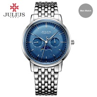 Julius Fashion Leisure 316L Steel Expensive Quartz Limited Edition Moon Phase High Quality Brand Logo Chronograph Watch JAL 041