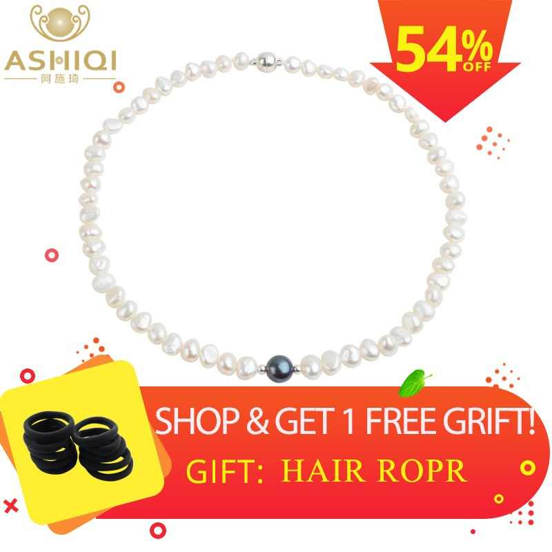 ASHIQI Real White Freshwater Pearl Necklace for Women with Pure 925 Sterling Silver Beads Handmade Jewelry gift