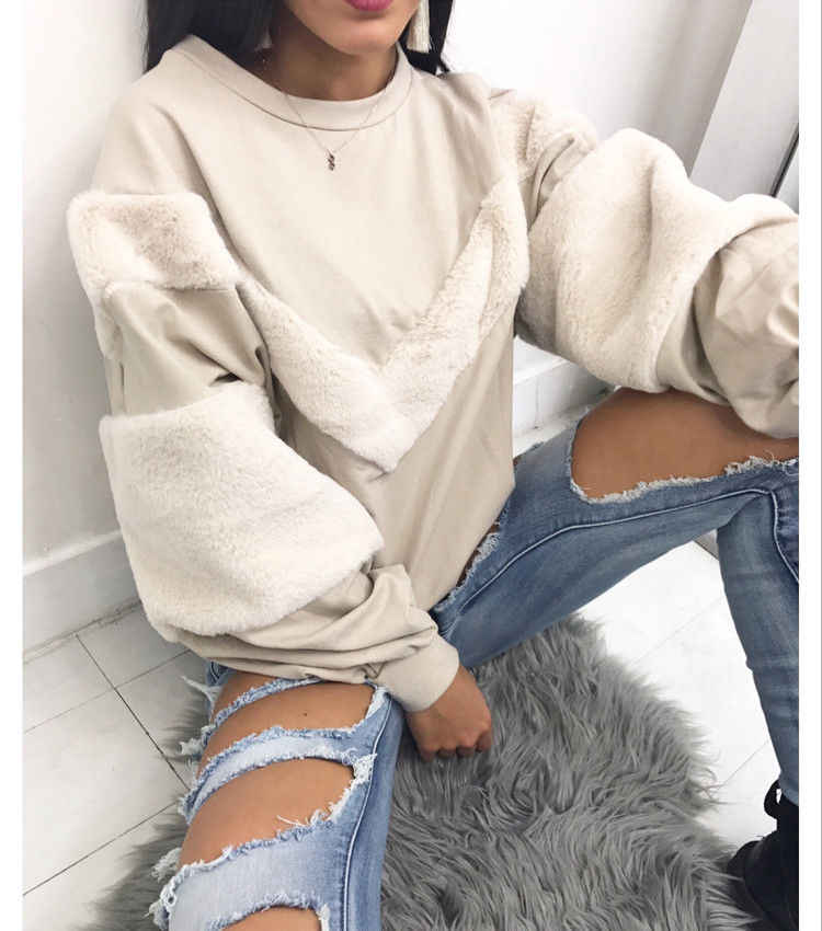 Patchworked Faux Fur Manga Longa Cropped Mulheres Camisola Queda Ombro Em Torno Do Pescoço Solto High Street Curto Pullover Topo