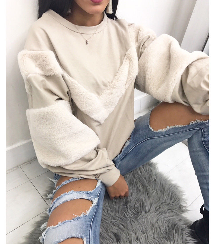 Patchworked Faux Fur Long Sleeve Cropped Sweatshirt Women Drop Shoulder Round Neck Loose High Street Short Pullover Top