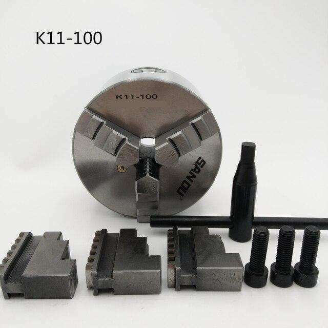 "3Jaw Lathe Chuck 100mm 4"" Self-centering 3 Jaw Chuck K11 Hardened Steel for Lathe CNC Machine"