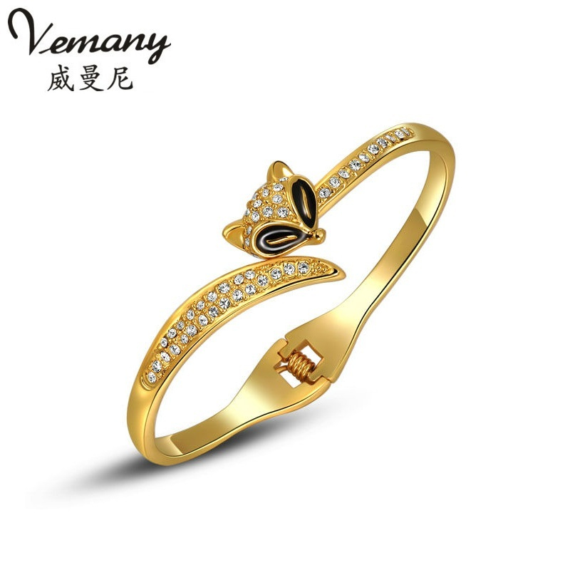 fc3c623fb Vemany fashion champaign yellow gold color Austrian Crystal fox cuff  Bracelets Bangles for women Jewelry Gifts top quality-in Bangles from  Jewelry ...