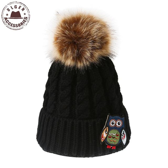 9b4dc102742 ULGEN New Series Handicraft Owl Crochet Beanies Women Winter Hats Original  Warm Beanie Hat with Fur pompom