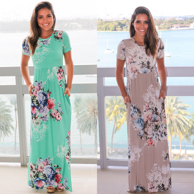 ELSVIOS 2017 Hot Sale Summer Long Dress Women Floral Print Short Sleeve Boho Maxi Dress Loose Beach Plus Size Dresses S-3XL  3