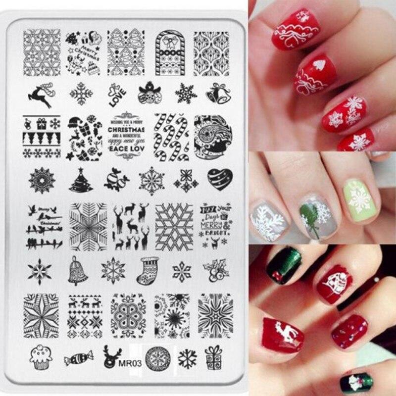 1 unids herramientas de uñas de manicura nail art sello plantilla de navidad dec