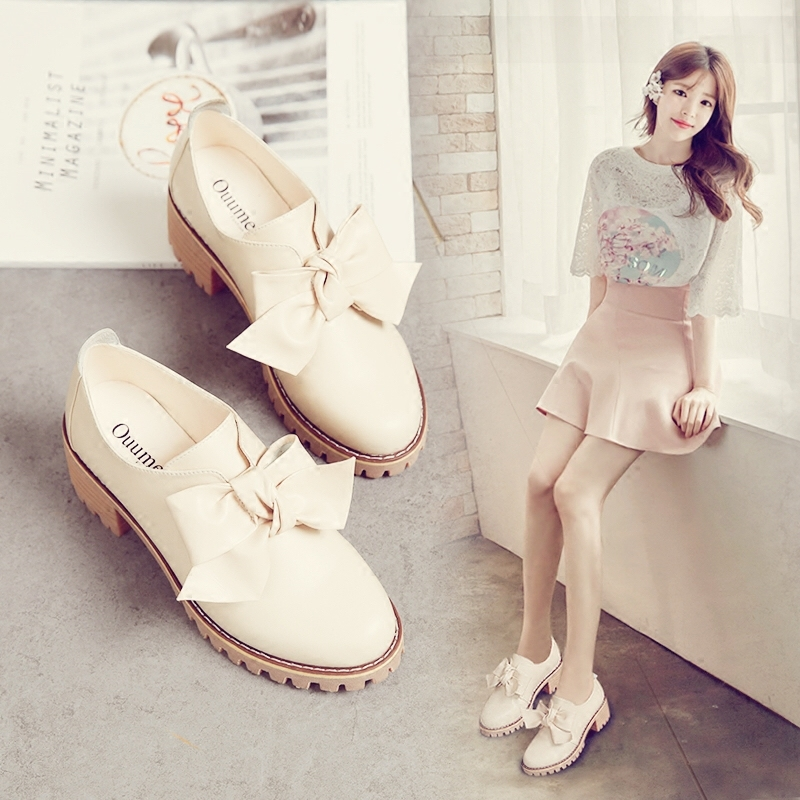 Spring shoes 2018 new wild high-heeled bow single shoes female thick with British small leather shoes female autumn. maden high quality european fashion men female shoes spring autumn leather casual shoes wild breathable white three flap shoes