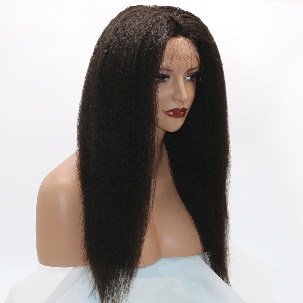Eversilky Brazilian Kinky Straight Glueless Lace 360 Frontal Wig Remy Human Hair Wigs 10-26 Inches Wigs With Baby Hair For Women