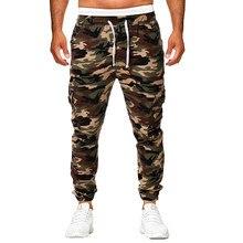 Erkek Sweatpants Slacks 2019 yeni kamuflaj erkekler Hip hop günlük pantolon kamuflajlı pantolon elastik Joggings spor katı Baggy tozluk