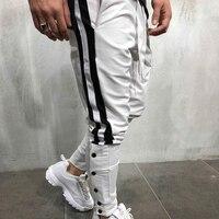 ZOGAA Men's Hip Hop Pants Slim Fut Fashion Striped Pants For Man Elastic Waist Sports Trousers Streetwear Sportwear