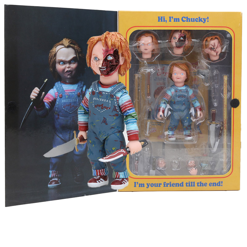 NECA Scary chucky Figure Toys Horror Movies Child's Play Bride of Chucky 1/10 Scale Horror Doll toy