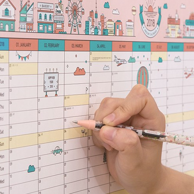 1 pcs creative korean cute cartoon wall calendar 2018 a2 365 day calendar creative schedule planning