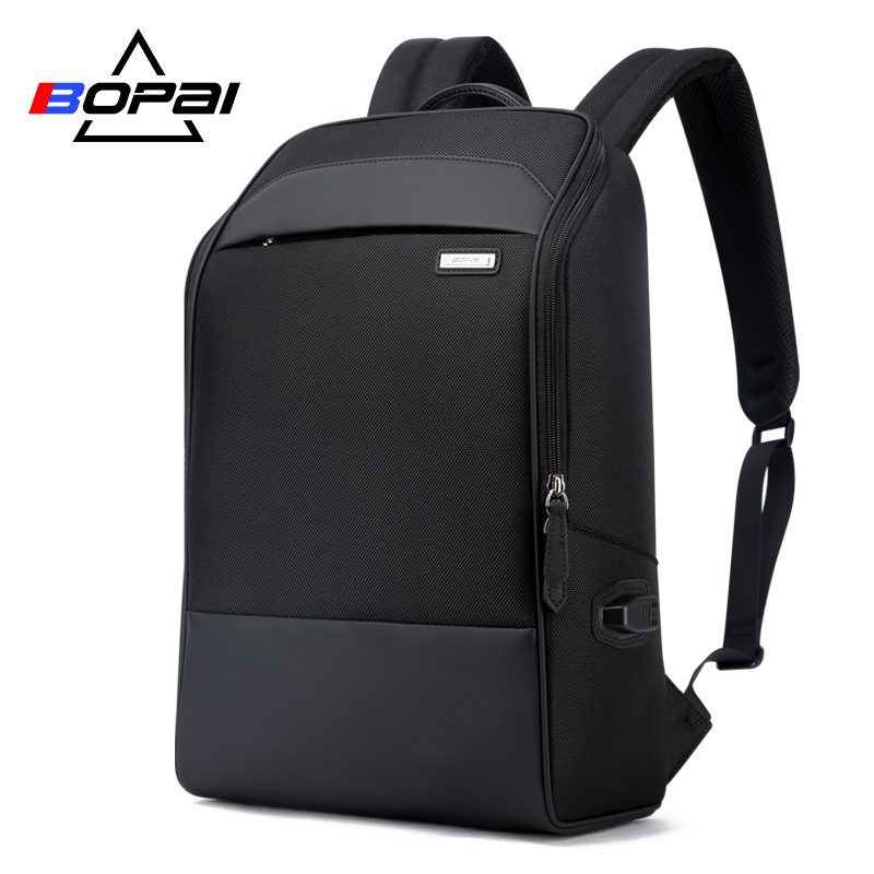 BOPAI Casual Business Men's Backpack for Travelling 15.6 Inch Waterproof USB Charging Laptop Backpack Cool Students School Bag school bag travelling casual backpack 9295 character print graphic gradient color