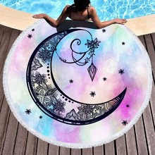 Round Beach Towel Tarot Mandala Microfiber Roundie Tassel Sport Bath Summer Yoga Mat Blanket Cover Up