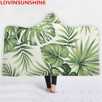LOVINSUNSHINE Tropical Plants Wearable Blanket Leaves Soft Sherpa Fleece Winter Throw Warm Thick Hooded Blanket