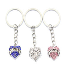 10pcs/Lot New Fashion Full Crystal Heart With Dance Words Key Chains Silver Color Chain Keychain Bag Car Hanging Pendant Jewelry(China)