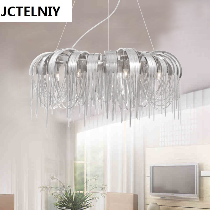 Italian luxury LED lights circle tassel chain pendant light   luminaire suspendu italian visual phrase book