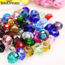 20Pcs/Lot Solid Color Cut Faceted Big Hole Crystal Plastic Crystal Glass Beads Charm Fit European Pandora Bracelet DIY Jewelry 10pcs hot cut faceted color crystal glass beads fit european bracelet spacer original pandora charm bracelet for jewelry making